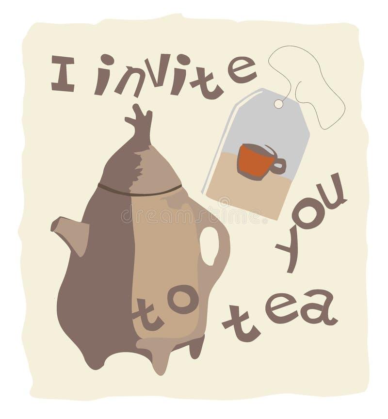 Vector o convite da imagem ao chá, ao bule e ao saquinho de chá fotos de stock
