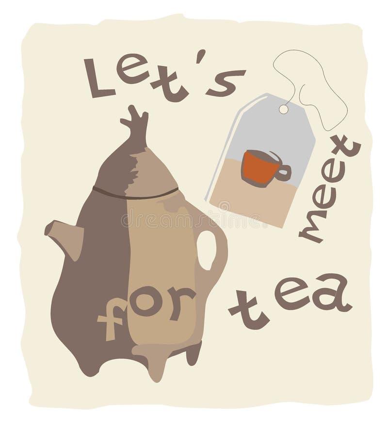 Vector o convite da imagem ao chá, ao bule e ao saquinho de chá fotos de stock royalty free