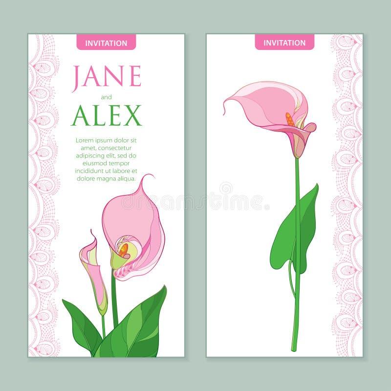 Vector o convite do casamento com a flor do lírio de Calla do esboço ou o Zantedeschia em cores do rosa pastel Composição vertica ilustração do vetor