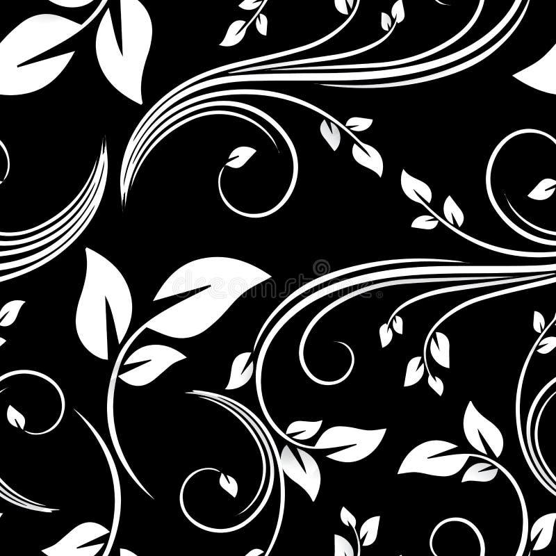 Vector o convite sem emenda vitoriano floral preto do fundo, casamento, teste padrão decorativo dos cartões de papel ilustração stock
