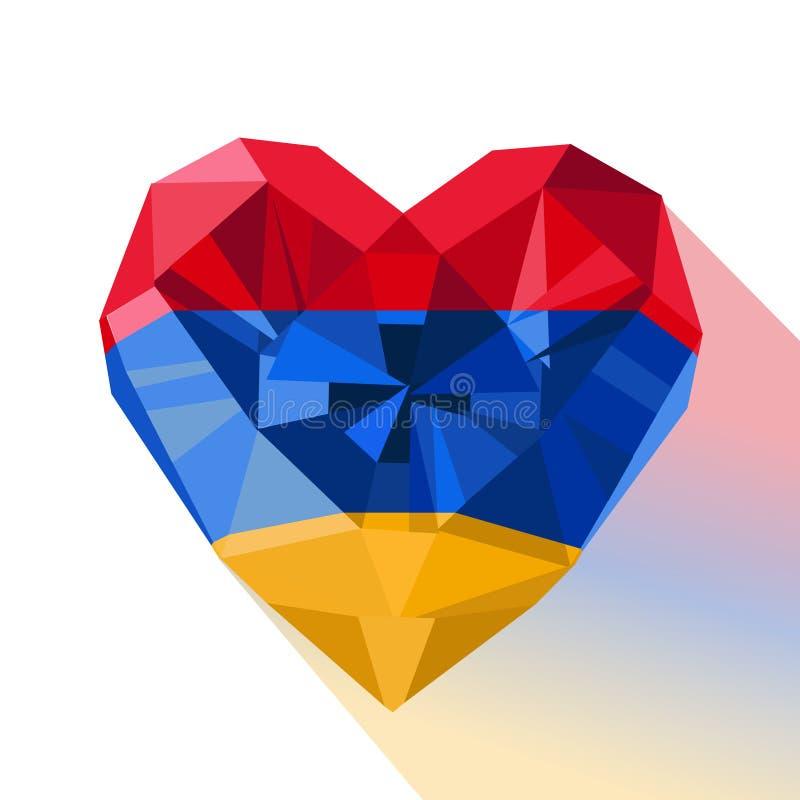 Vector o coração armênio da joia de cristal da gema com a bandeira da Armênia ilustração do vetor