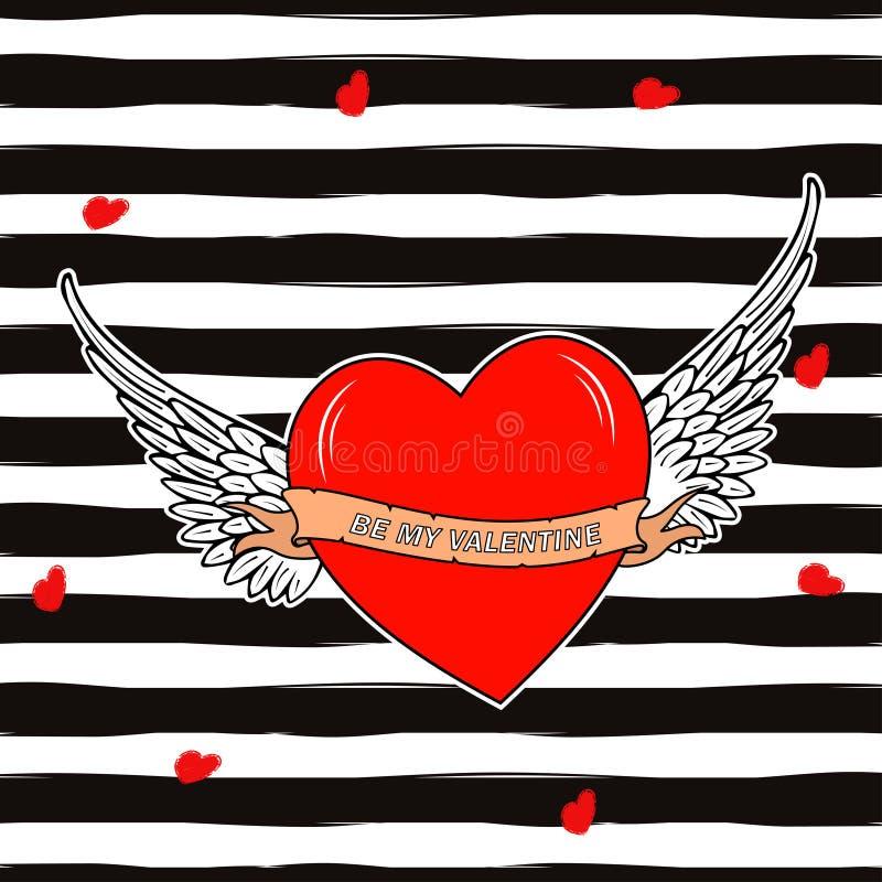 Vector o coração com asas e o texto seja meu Valentim Fundo para o projeto do dia de Valentim ilustração stock