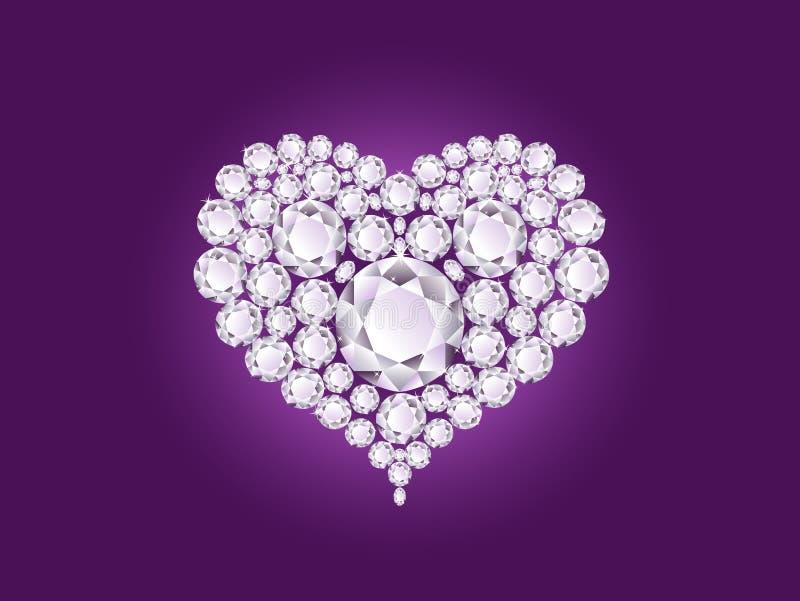 Vector o coração do diamante no fundo roxo ilustração stock