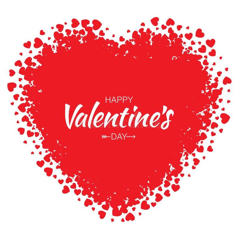 Vector o coração do Grunge com fundo vermelho pequeno do dia de Valentim dos corações ilustração do vetor