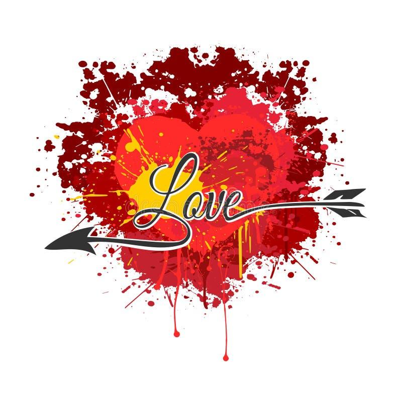 Vector o coração feito da pintura do respingo com a seta do amor ilustração royalty free