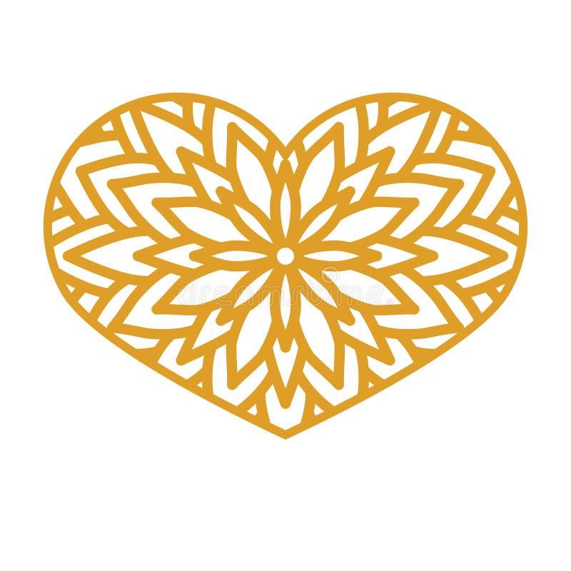 Vector o coração laçado do estêncil com teste padrão a céu aberto cinzelado molde ilustração royalty free