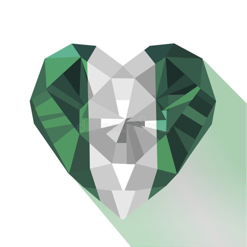 Vector o coração nigeriano da joia de cristal da gema a bandeira do Federal Republic of Nigeria ilustração stock