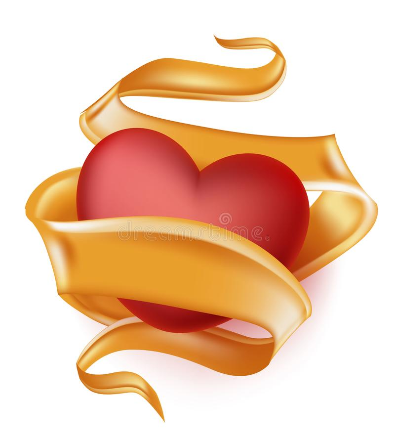 Vector o coração realístico, fita de seda elegante do cetim ilustração royalty free