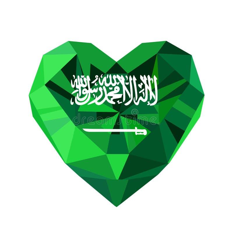 Vector o coração saudita da joia de cristal da gema com a bandeira de KSA ilustração royalty free