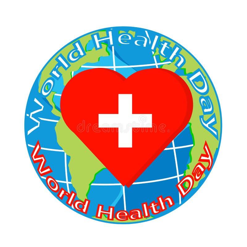 Vector o coração vermelho com cruz no globo para o dia da saúde ilustração stock