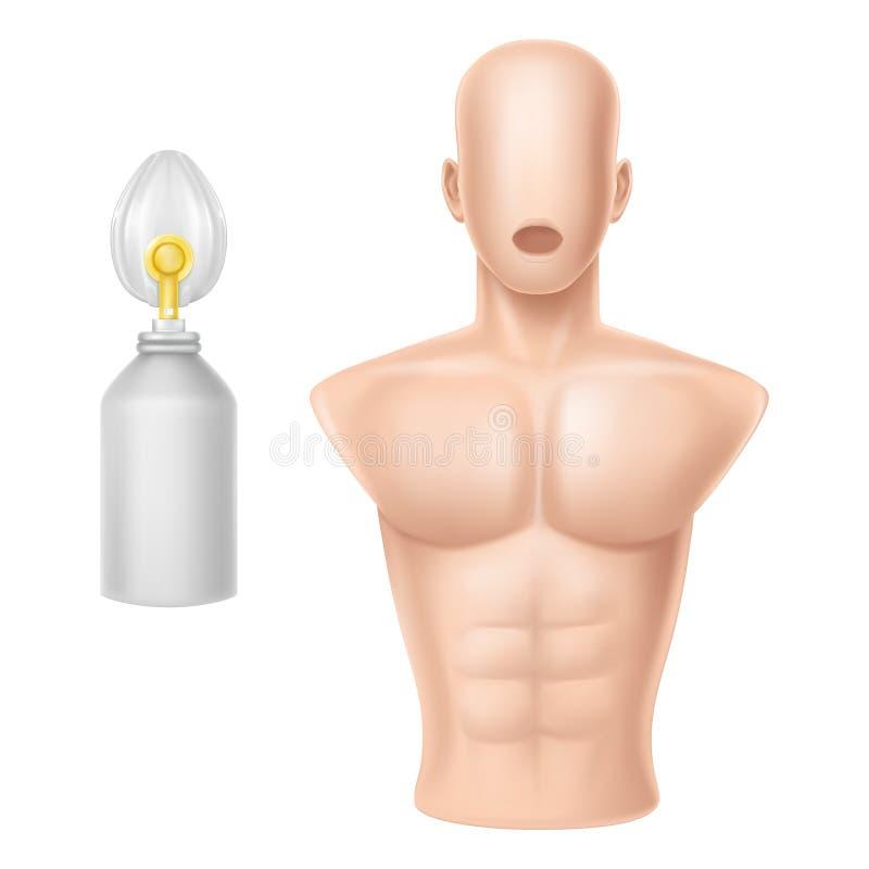 Vector o corpo humano para treinar da respiração artificial ilustração do vetor