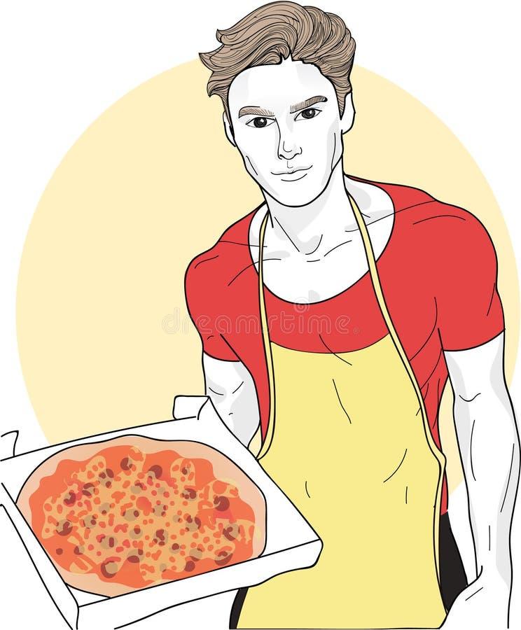 Vector o cozinheiro chefe novo bonito e a pizza deliciosa com queijo e salsicha ilustração do vetor