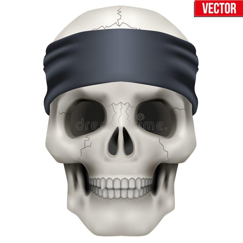 Vector o crânio humano com o bandana do gângster na cabeça ilustração royalty free