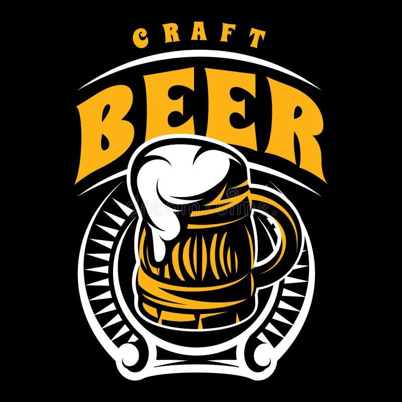 Vector o crachá da cor com inscrição com caneca e espuma de cerveja ilustração royalty free