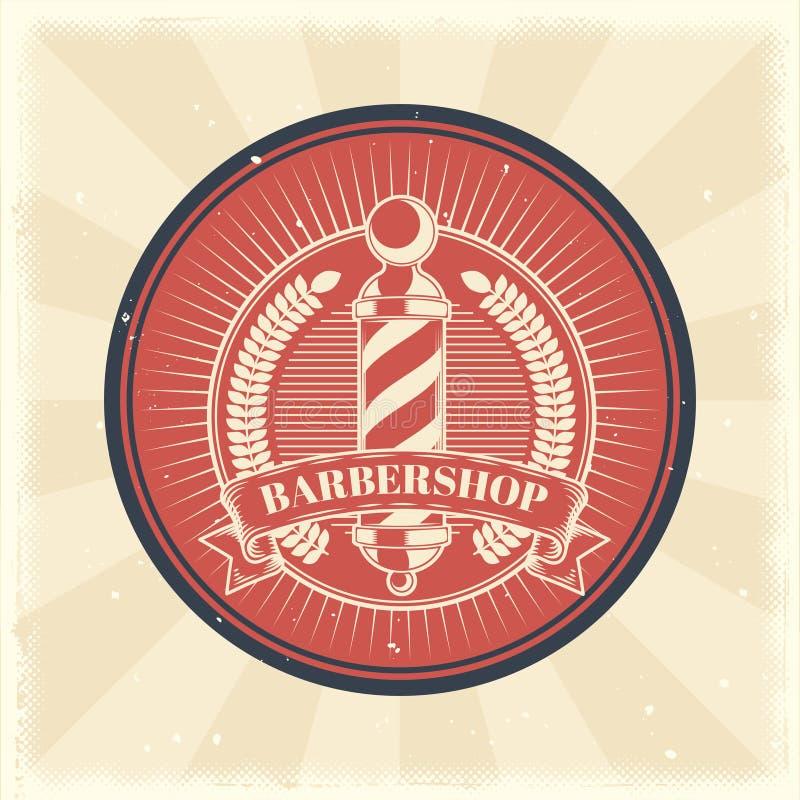 Vector o crachá do vintage, etiqueta, sinal com polo da barbearia ilustração stock