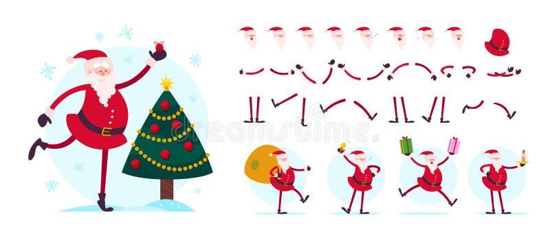 Vector o criador do caráter de Santa Claus - poses diferentes, gestos, emoções, elementos do feriado ilustração do vetor