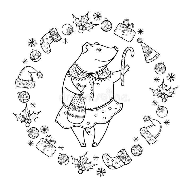 Vector o cumprimento com o porco feliz do esboço com o bastão do Natal no preto isolado Símbolo do ano novo chinês 2019 no estilo ilustração stock