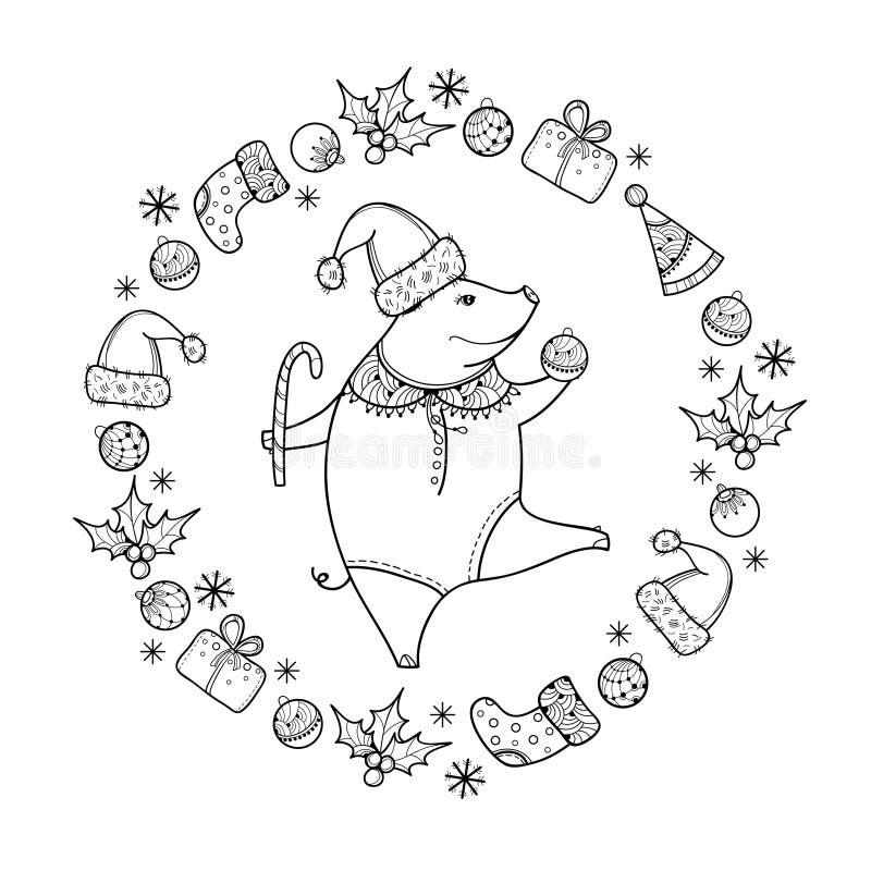 Vector o cumprimento com o porco feliz do esboço com a bola do Natal no preto isolada Símbolo do ano novo chinês 2019 no estilo d ilustração do vetor