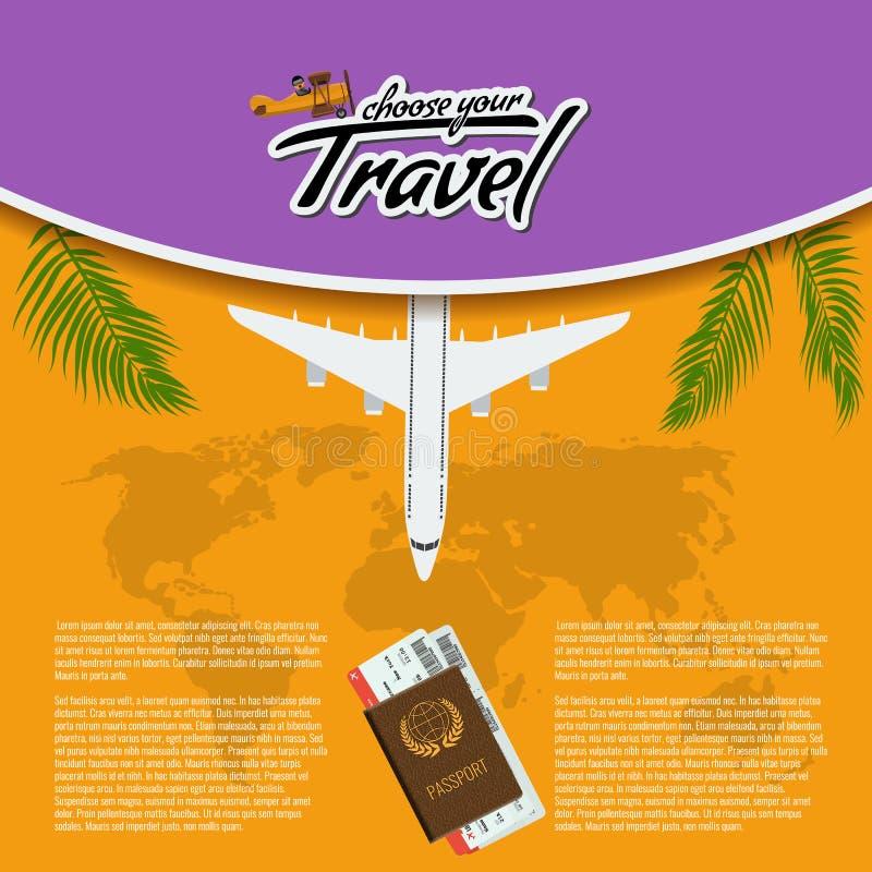 Vector o curso 3D realístico e visite o projeto criativo do cartaz com os bilhetes realísticos do avião, do mapa do mundo, do pas ilustração royalty free