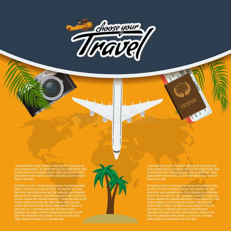 Vector o curso 3D realístico e visite o projeto criativo do cartaz com os bilhetes realísticos do avião, do mapa do mundo, do pas ilustração do vetor