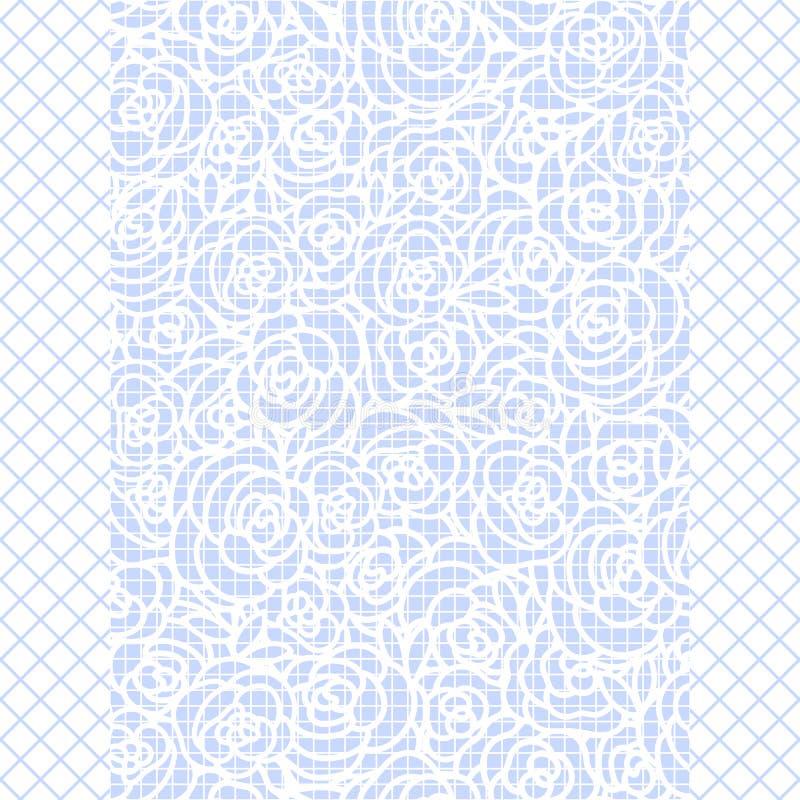 Vector o desenho bonito da mão de uma faixa da rosa no fundo azul das calças justas da rede de pesca Frame retangular ilustração royalty free