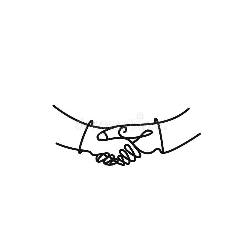 Vector o desenho da arte de agitar as mãos de dois povos masculinos ilustração royalty free