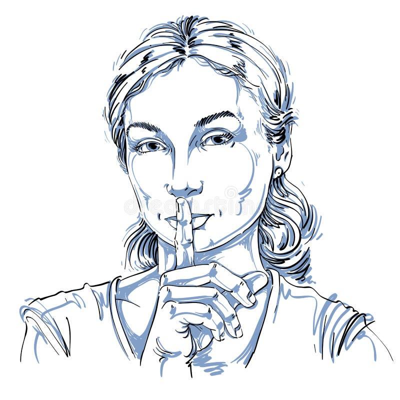 Vector o desenho da arte, retrato da menina calma que faz um sinal do silêncio ilustração stock