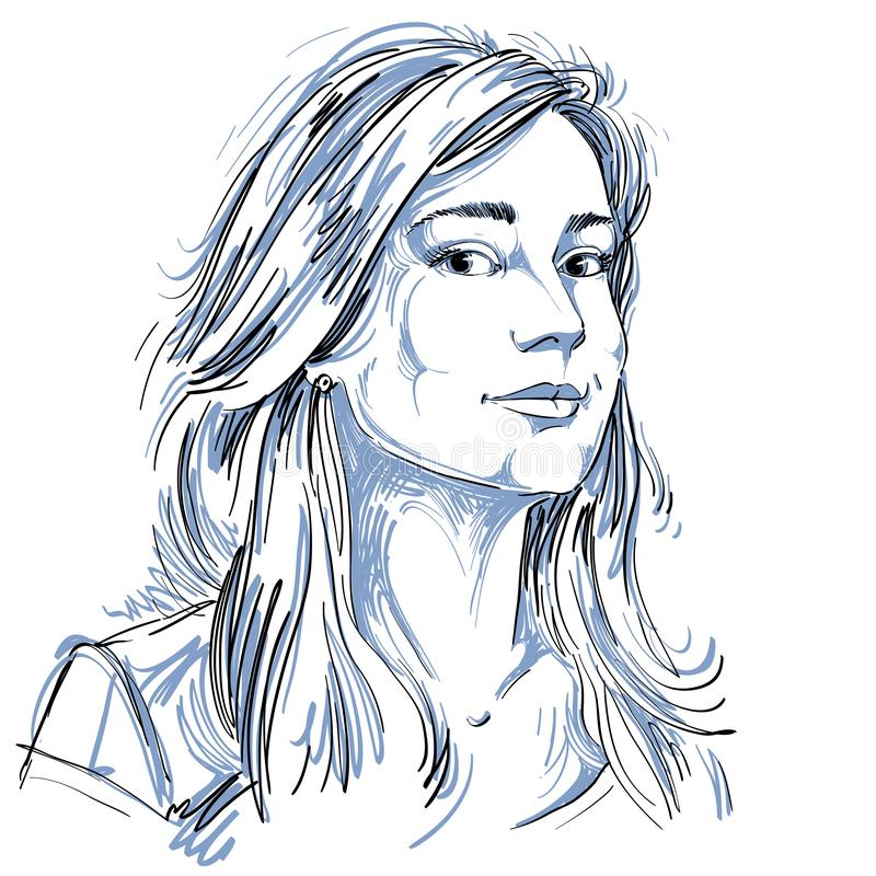 Vector o desenho da arte, retrato da menina sonhadora lindo isolada sobre ilustração do vetor