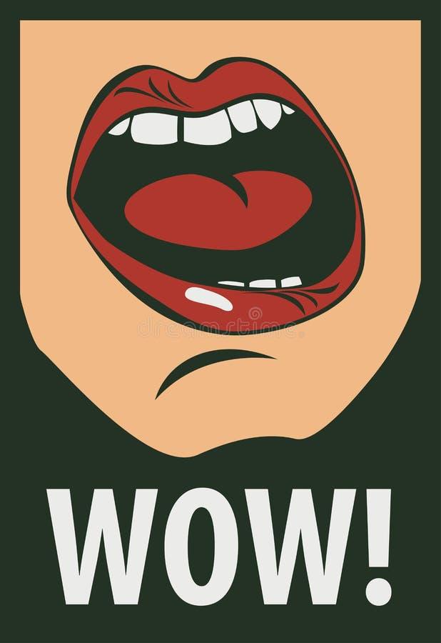 Vector o desenho da boca humana que grita uau ilustração do vetor