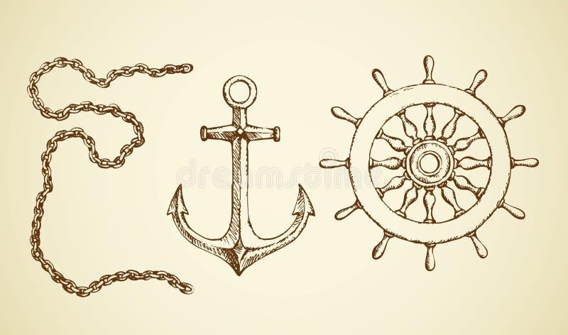 Vector o desenho da corrente, da âncora e da corda de salvamento ilustração do vetor