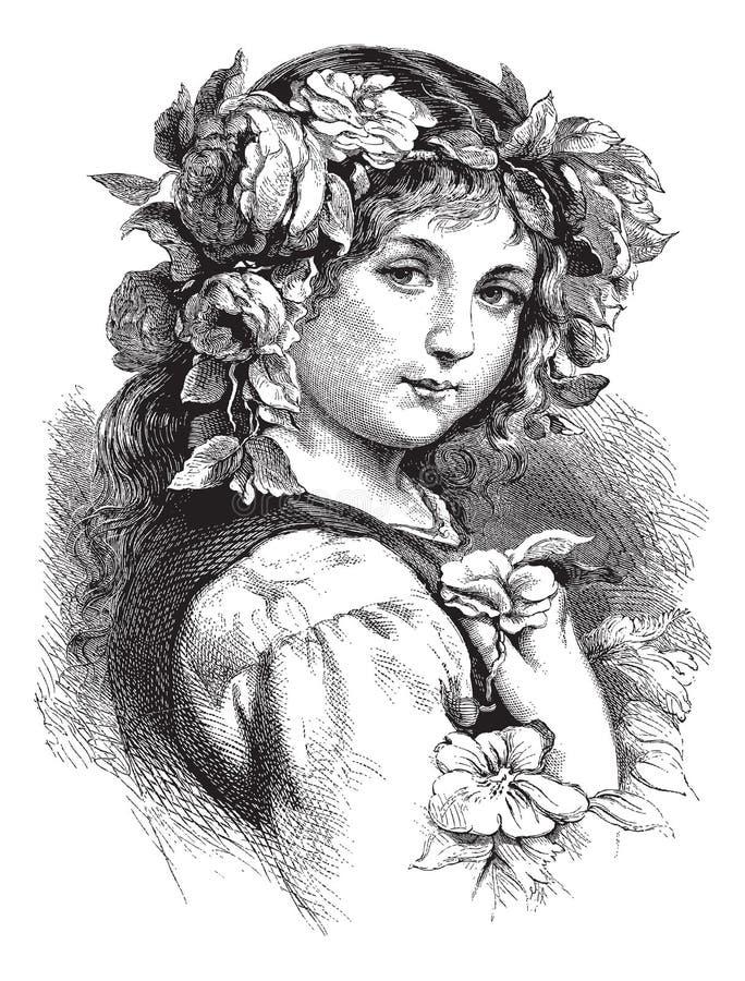 Vector o desenho da menina bonita com as flores no cabelo ilustração royalty free