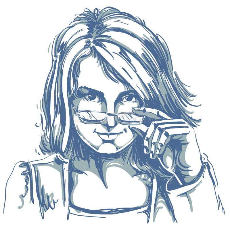 Vector o desenho da mulher de negócio 'sexy' com corte de cabelo à moda ilustração royalty free