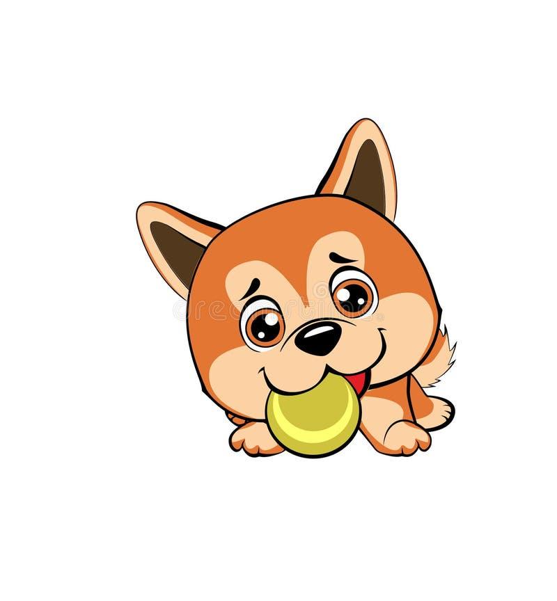 Vector o desenho do estilo dos desenhos animados de um cachorrinho brincalhão que joga com uma bola de tênis Desenhos animados au ilustração do vetor