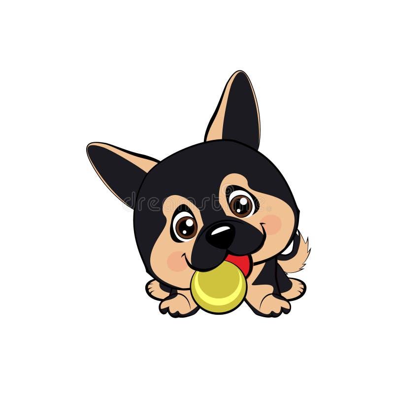 Vector o desenho do estilo dos desenhos animados de um cachorrinho brincalhão que joga com uma bola de tênis Desenhos animados au ilustração royalty free