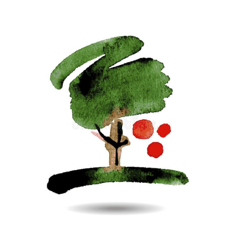 Vector o desenho estilizado da árvore de maçã com maduro ilustração do vetor
