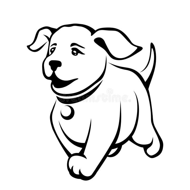 Vector o desenho preto do contorno de um cachorrinho bonito ilustração stock