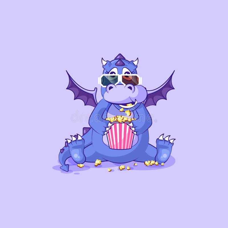Vector o dinossauro do dragão dos desenhos animados do caráter de Emoji que mastiga a pipoca, olhando o emoticon da etiqueta dos  ilustração stock