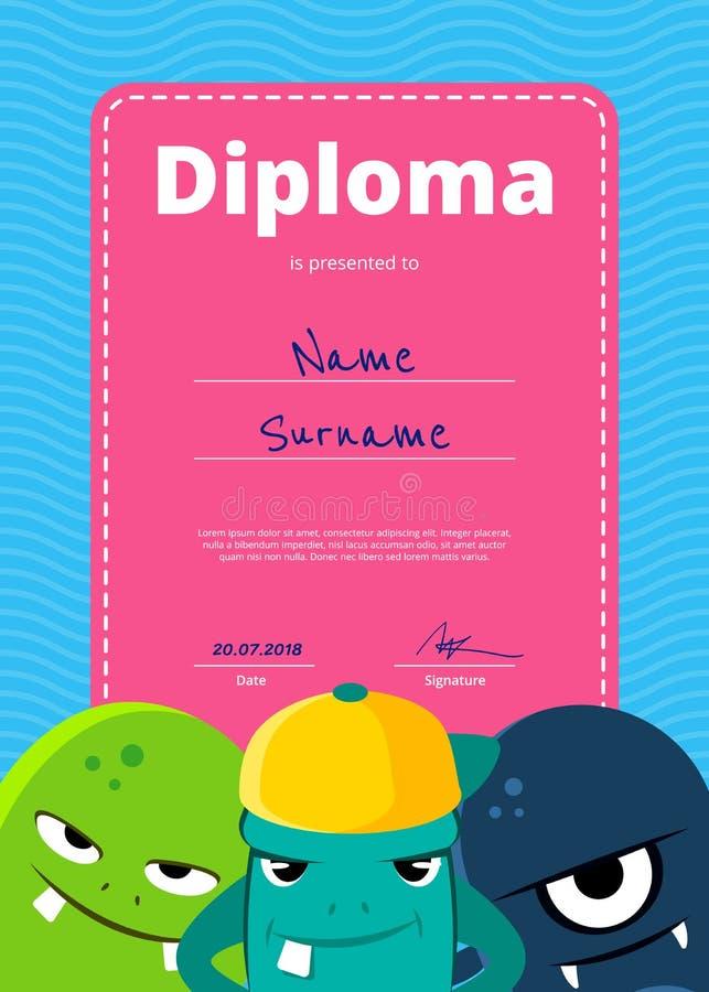 Vector o diploma ou o certificado das crianças com os monstro bonitos no fundo ondulado ilustração do vetor