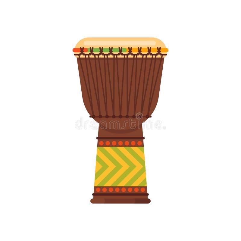 Vector o djembe africano do instrumento musical do cilindro do estilo liso ilustração stock