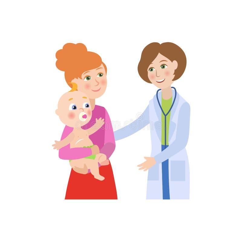 Vector o doutor fêmea liso, bebê infantil com mãe ilustração royalty free