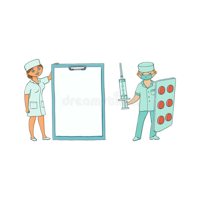 Vector o doutor fêmea masculino liso na roupa médica ilustração stock