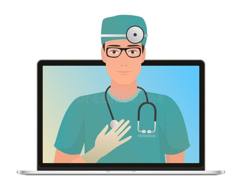 Vector o doutor masculino com conceito em linha da consulta médica, serviços dos cuidados médicos Pergunte a um doutor em linha p ilustração stock