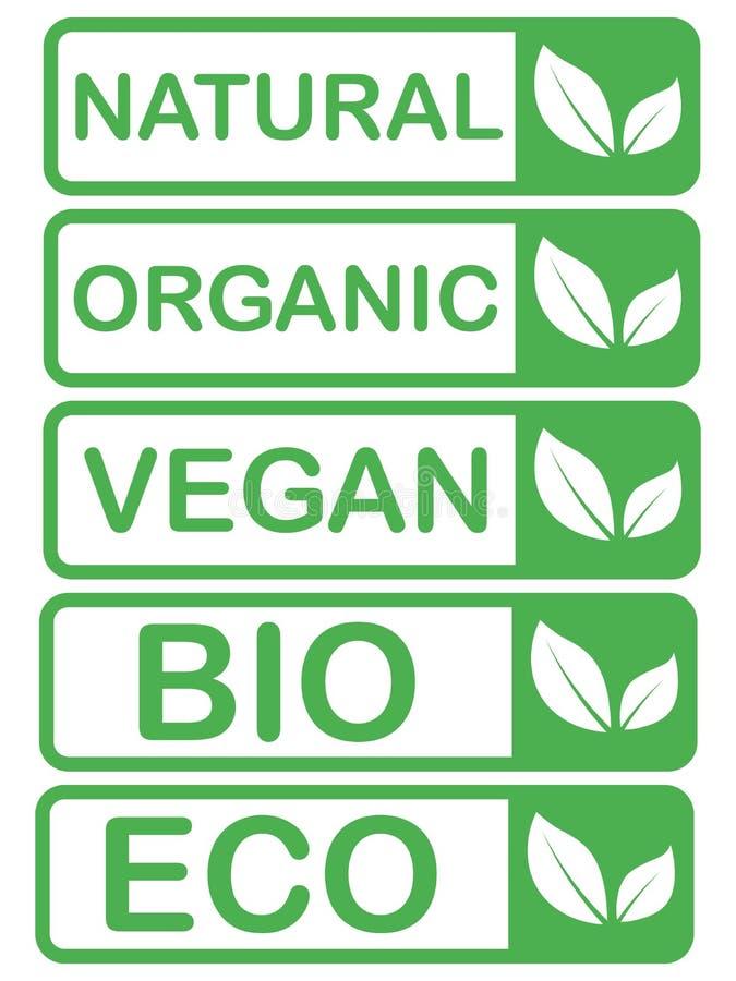 Vector o eco, moldes org?nicos, bio dos cart?es do logotipo Saud?veis escritos ? m?o comem os ?cones ajustados Vegetariano, alime ilustração royalty free