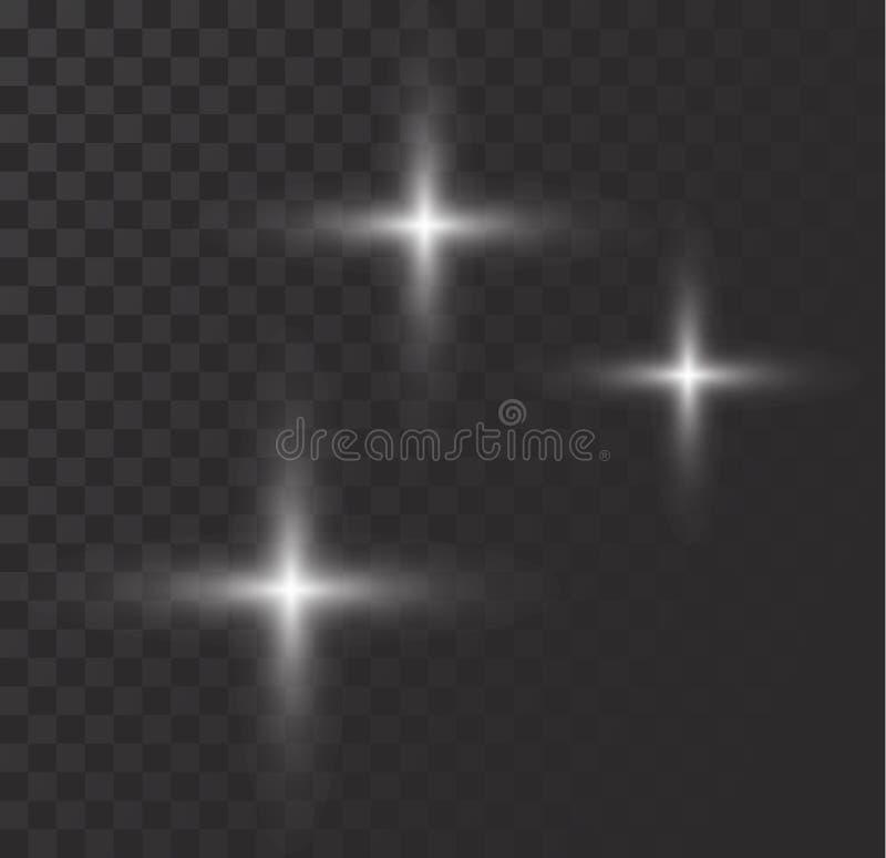 Vector o efeito das luzes de incandescência, o alargamento, o explosian e estrelas ilustração stock