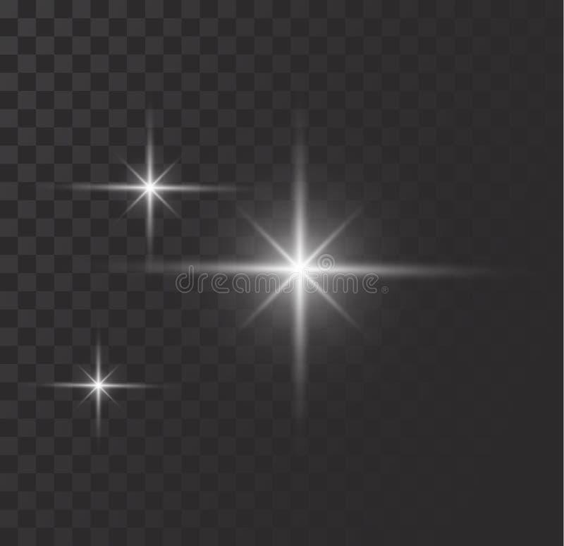 Vector o efeito das luzes de incandescência, o alargamento, o explosian e estrelas ilustração do vetor