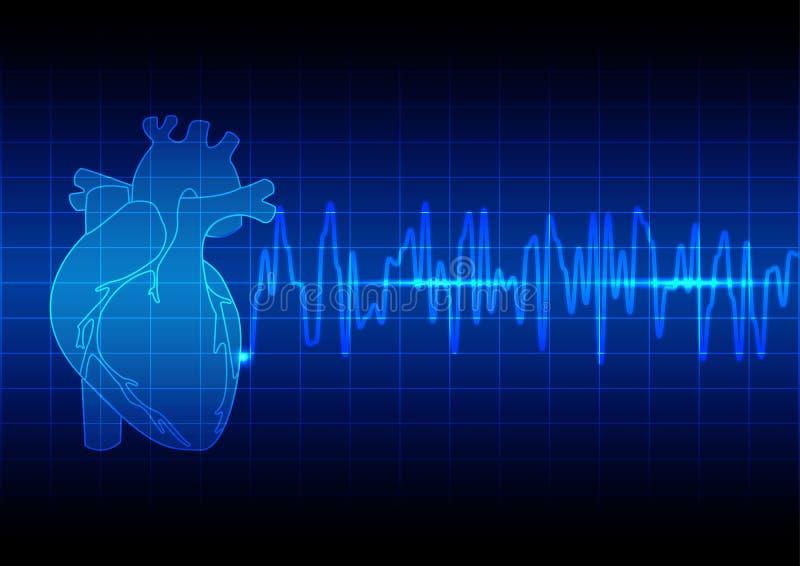 Vector o ekg do ritmo do coração da ilustração no technolo azul do fundo ilustração stock