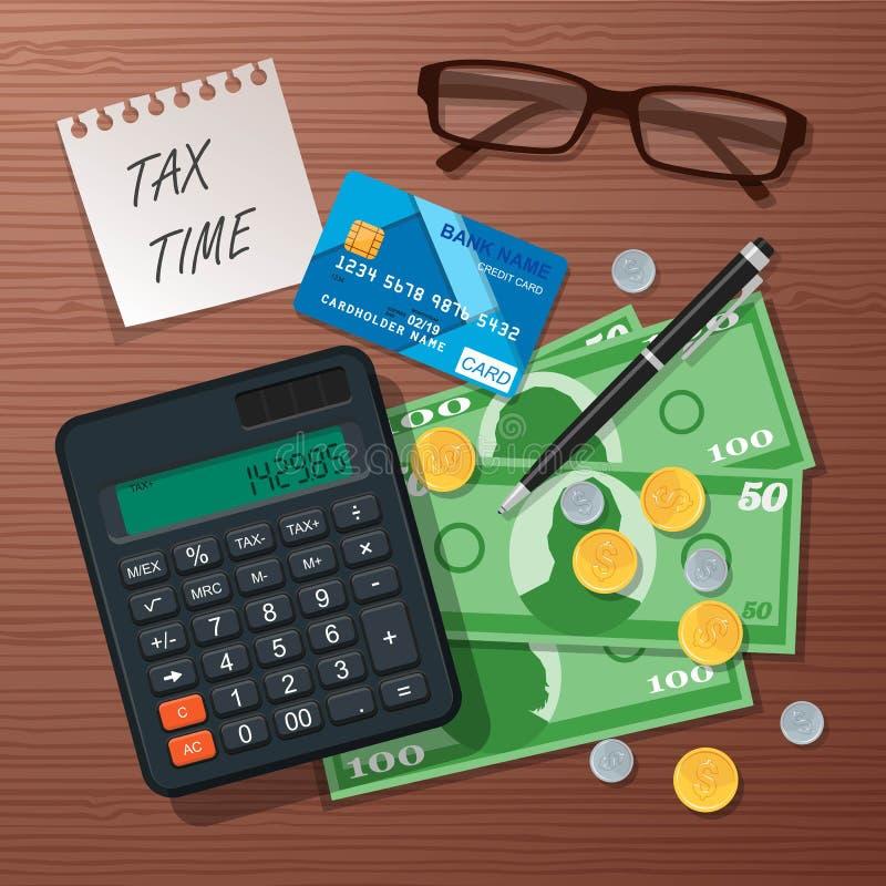 Vector o elemento do projeto de conceito do tempo do imposto, estilo liso ilustração stock