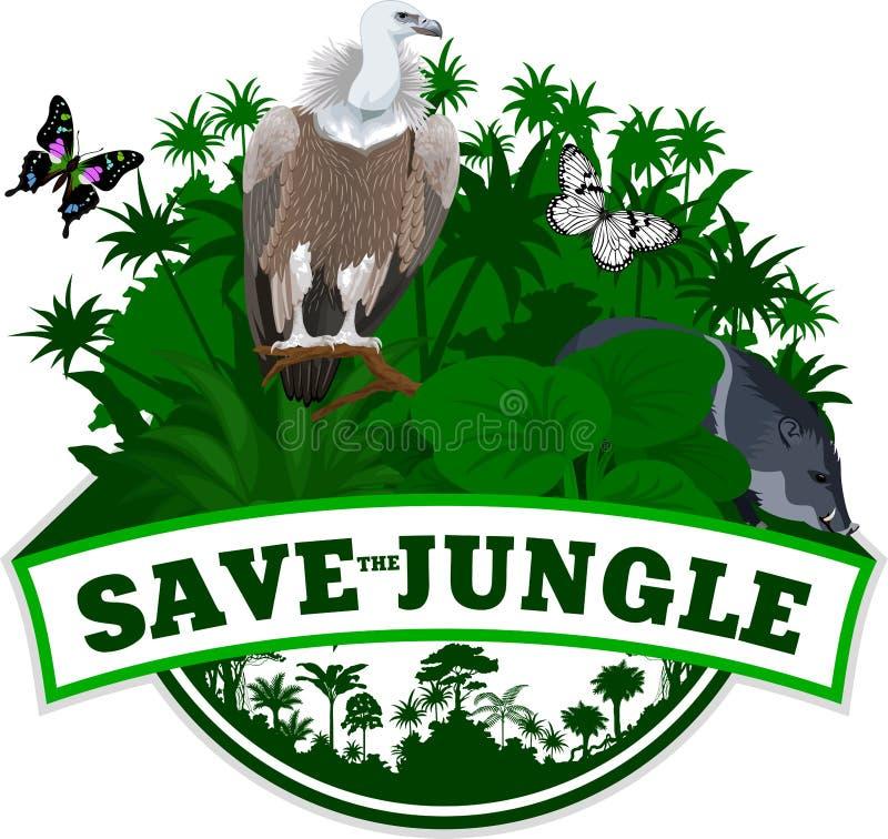 Vector o emblema da selva com borboletas e o pecari do porco e o abutre de Griffon selvagens ilustração royalty free