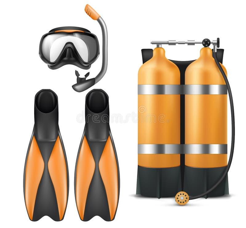 Vector o equipamento do mergulhador, a máscara do tubo de respiração e as aletas ilustração royalty free