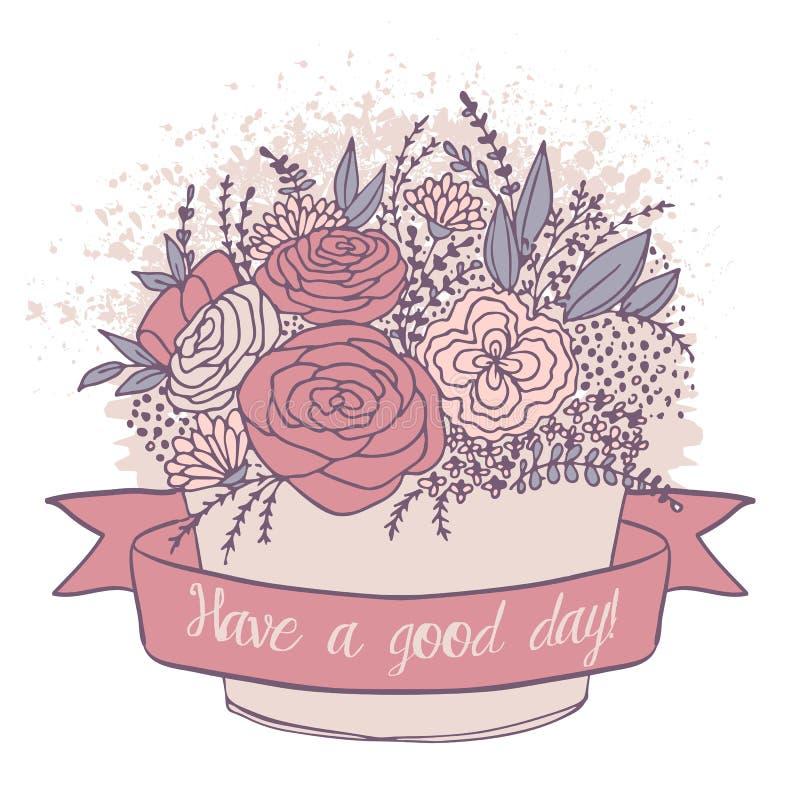 Vector o esboço da cor, flores festivas com bom desejo ilustração do vetor